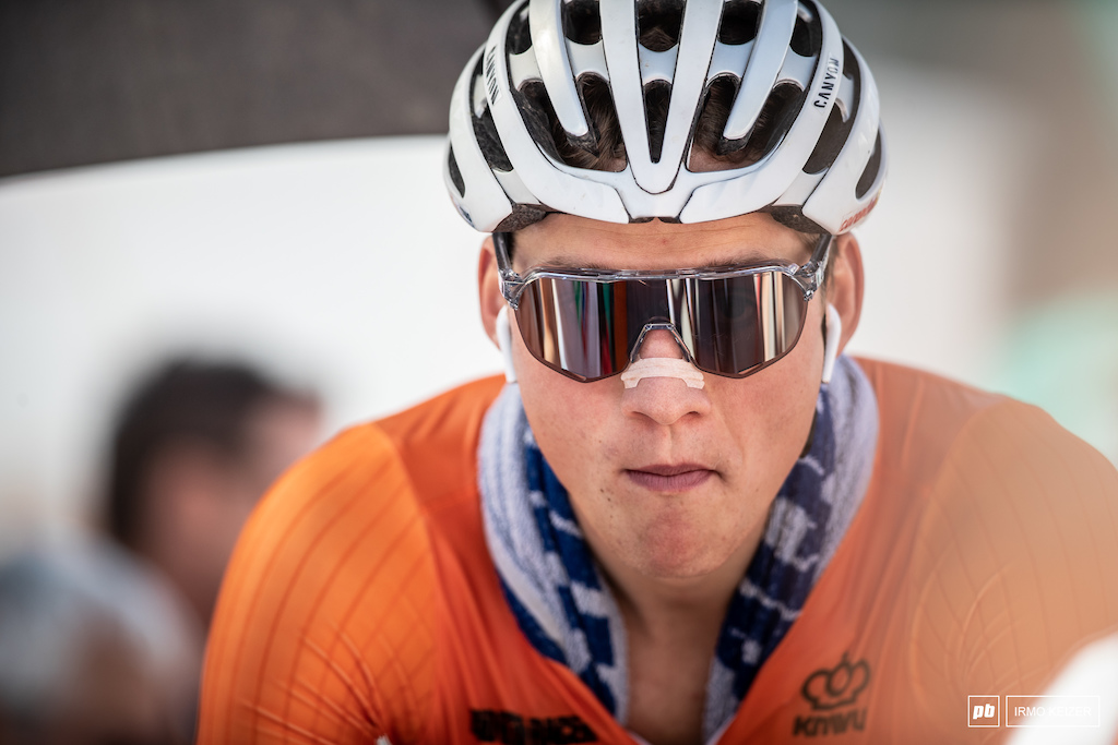 Mathieu van der Poel rides to win. He's pushed hard this year and is poised on getting on top of that podium.