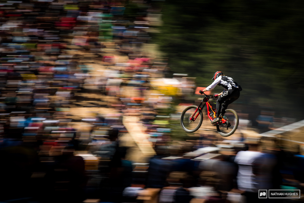Keegan Wright swooping in through the Swiss crowds.