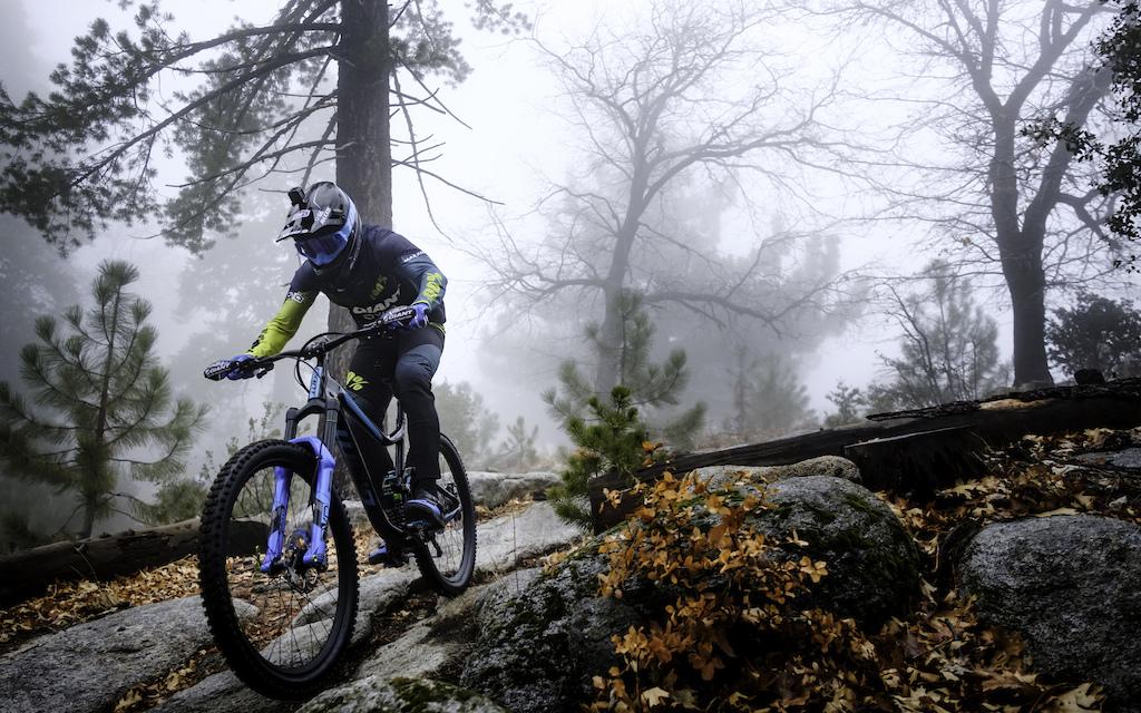 Josh Carlson ripping through the winter mountain fog of Southern California.