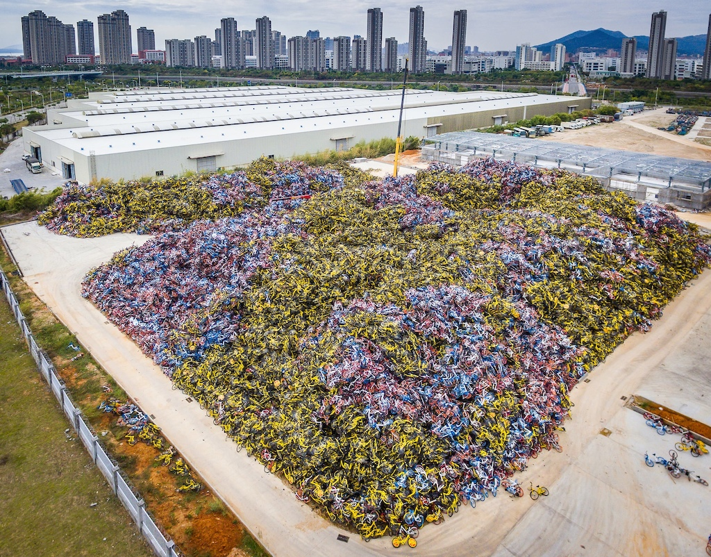 Discarded rental bikes being stockpiled by Chinese government authorities