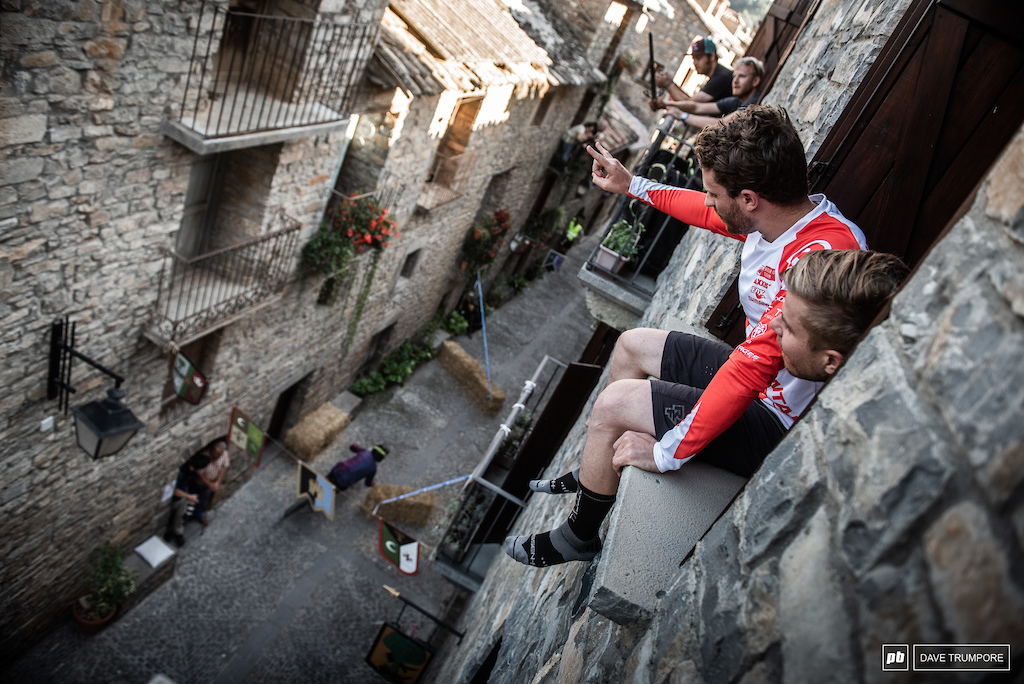 Jesse Melamed and Remi Gauvin enjoy a birds eye view of the prologue from their apartment window.
