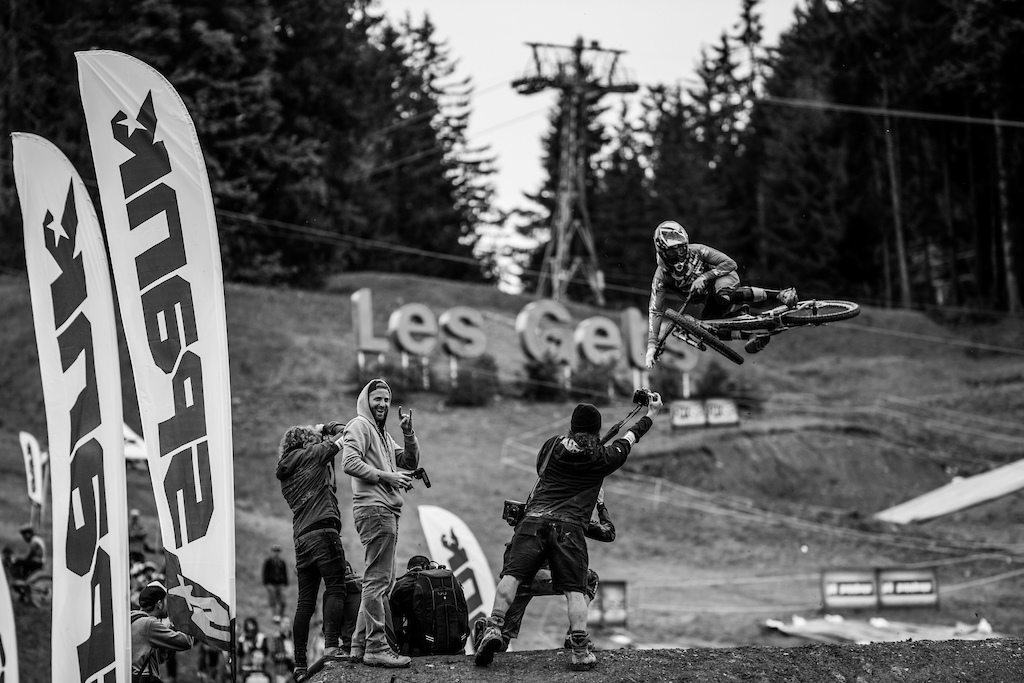 Bernard Kerr at Whip Off Championships Crankworx Les Gets 2016. Photo by Sean St.Denis
