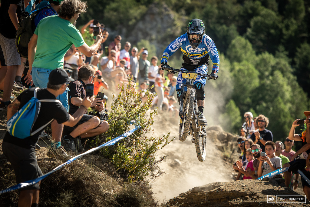 Sam Hill was one of the first riders to send this gap in practice at the bottom of Stage 1, and it was non easy feat after riding the 10 plus minute physical stage above.