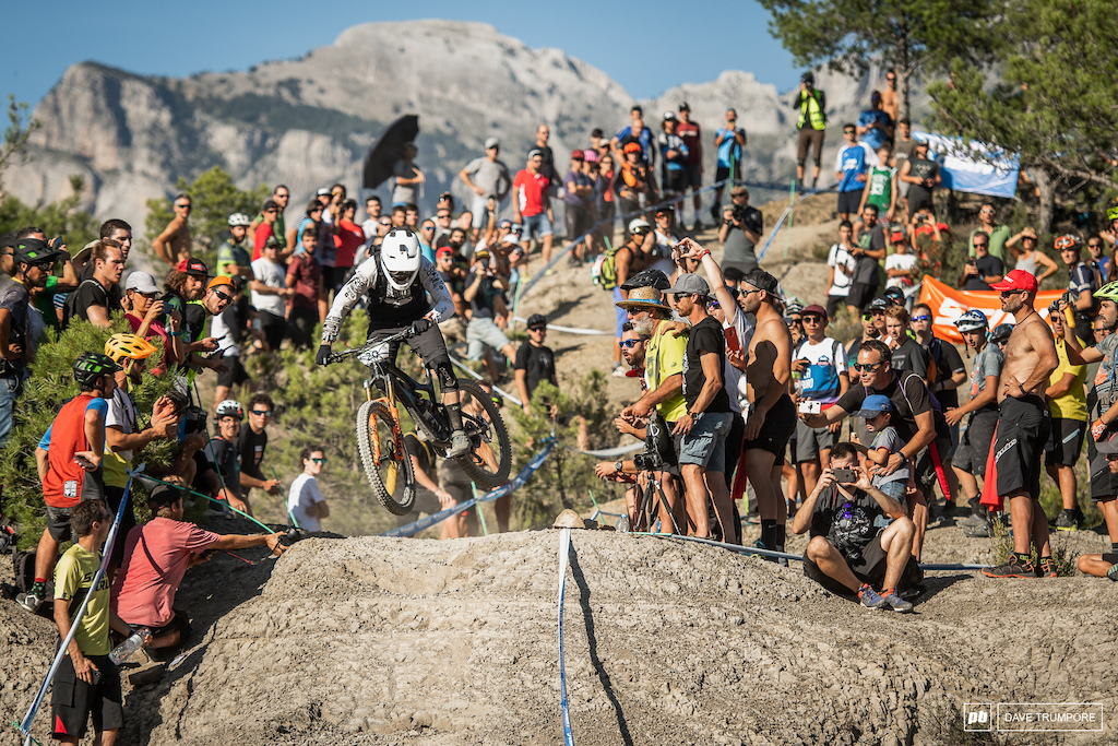 Lewis Buchanan was one of the only riders to send it off this steep, blind chute