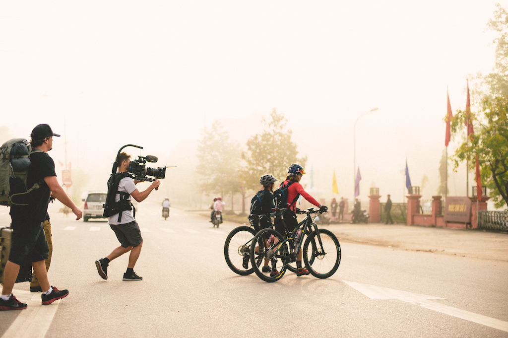 Huyen Nguyen and Rebecca Rusch ride the Ho Chi Minh Trail for the feature film project 'Blood Road' in Vietnam, Laos, and Cambodia in March, 2015. // Josh Letchworth/Red Bull Content Pool // AP-1S2W6R78W2111 // Usage for editorial use only // Please go to www.redbullcontentpool.com for further information. //
