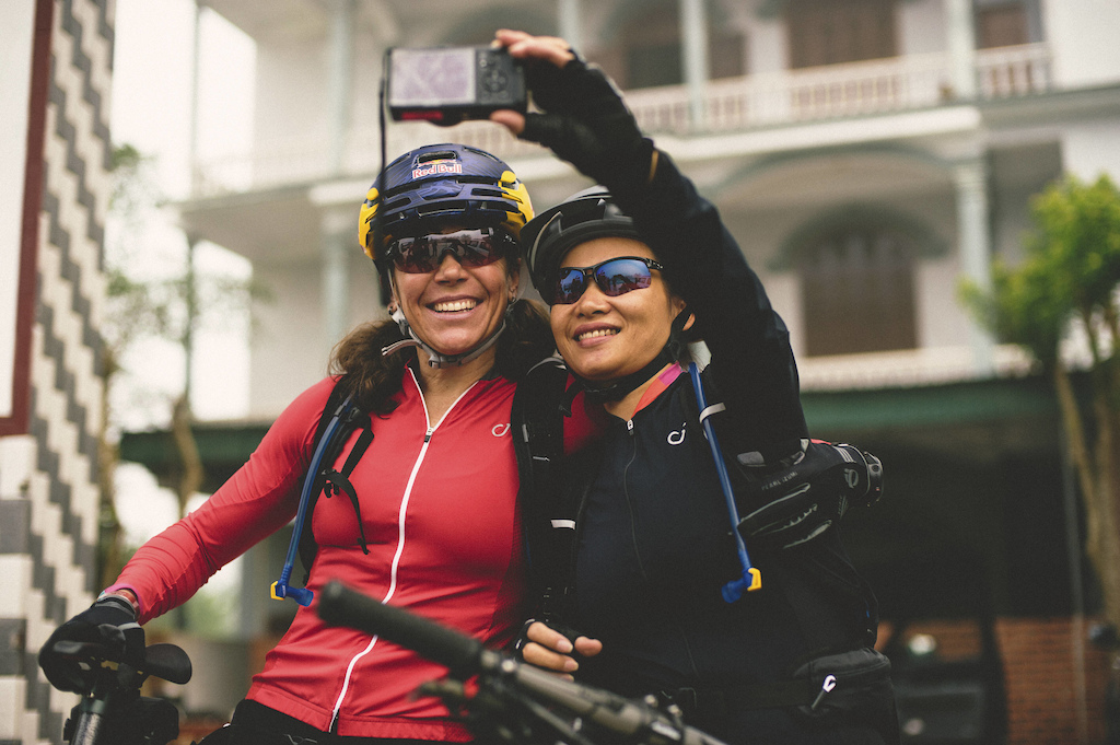 Huyen Nguyen and Rebecca Rusch take a selfie along the Ho Chi Minh Trail for the feature film project Blood Road in Vietnam Laos and Cambodia in March 2015. Josh Letchworth Red Bull Content Pool AP-1UD72N2PS1W11 Usage for editorial use only Please go to www.redbullcontentpool.com for further information.