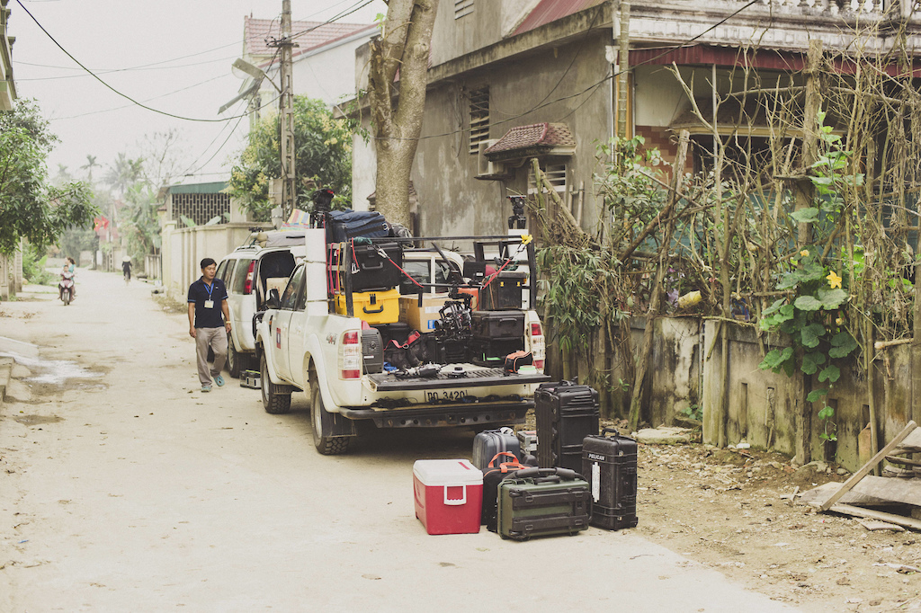 The crews equipment trucks along the Ho Chi Minh Trail for the feature film project Blood Road in Vietnam Laos and Cambodia in March 2015. Josh Letchworth Red Bull Content Pool AP-1UD72M6W51W11 Usage for editorial use only Please go to www.redbullcontentpool.com for further information.