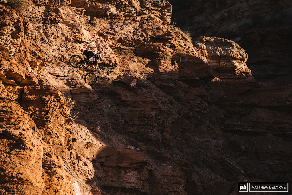 Brendan sent the rock, the canyon gap and the chute today. His run is pretty much linked up at this point. One of the few riders nearly ready to go tomorrow.