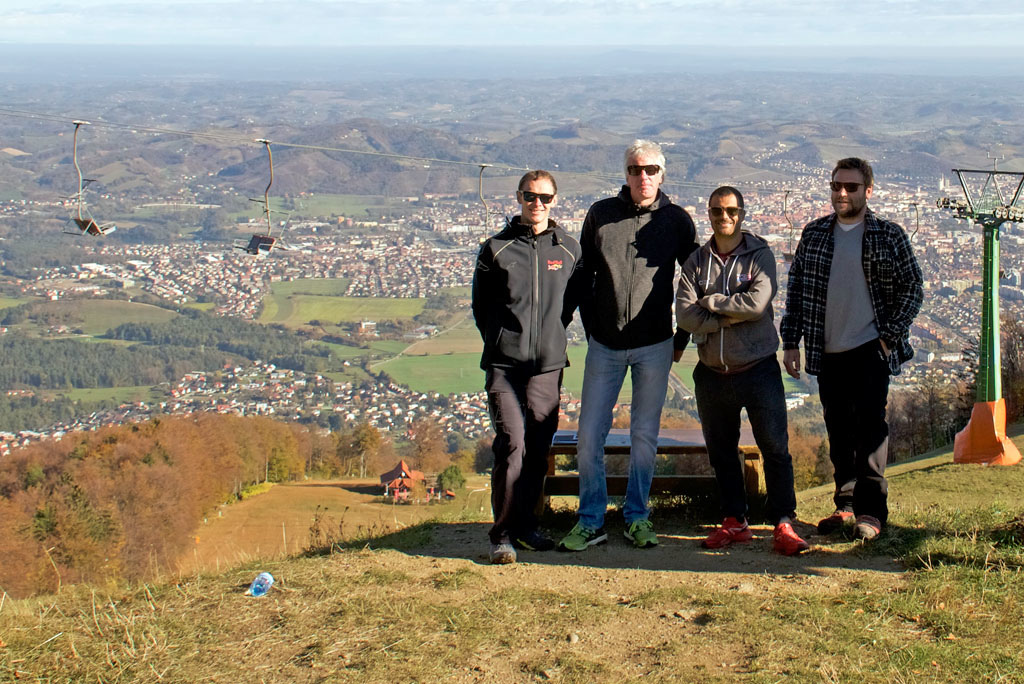 UCI visit on Maribor World Cup DH track from left Christoph Tritscher Red Bull Media House Simon Burney David Vazquez and Maribor WC director Iztok Kvas. Photo by Emrah zbay.