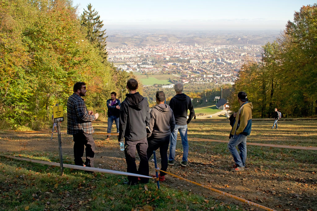 UCI visit on Maribor World Cup DH track above the entrance to the Rock n Roll section. Photo by Emrah zbay.
