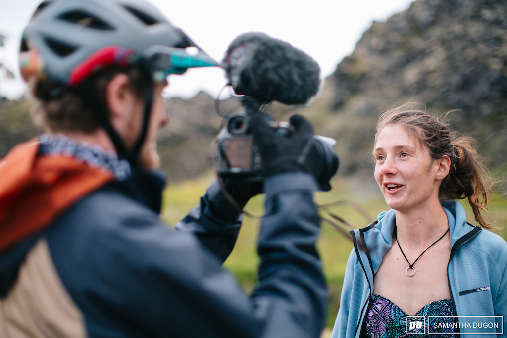 Manon Carpenter having a quick interview before jumping in one of many hot springs that Iceland has to offer.