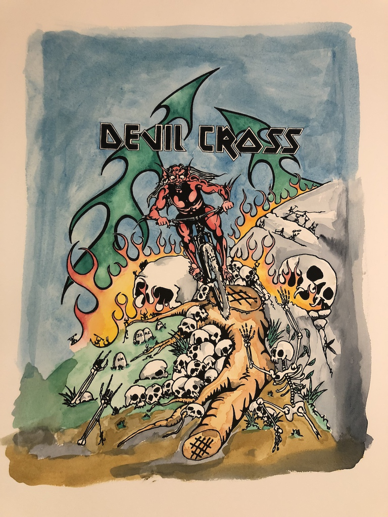 DEVILCROSS watercolor over silkscreen