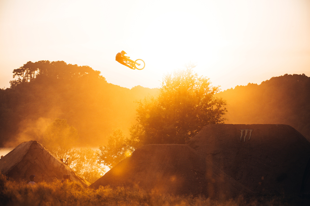 Sam Reynolds whipping over the huge RoyalFEST hip during golden hour