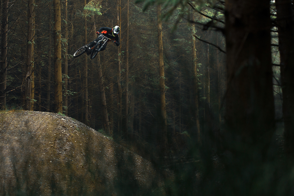 Sam Reynolds going big on the 50/01 line at Revs during filming for the new Polygon XQUAREONE DH bike