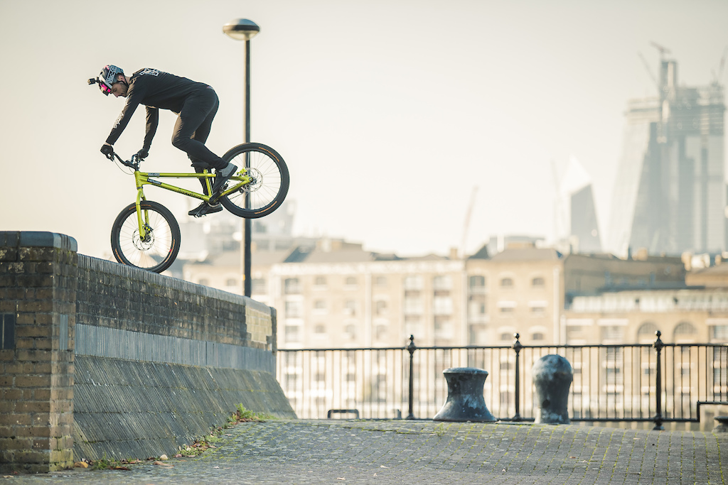 Duncan with a classic 360 drop with the shard in background.