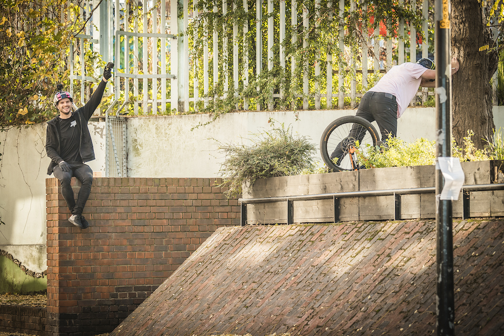 Sam having a spot of trouble on this wall ride set up.
