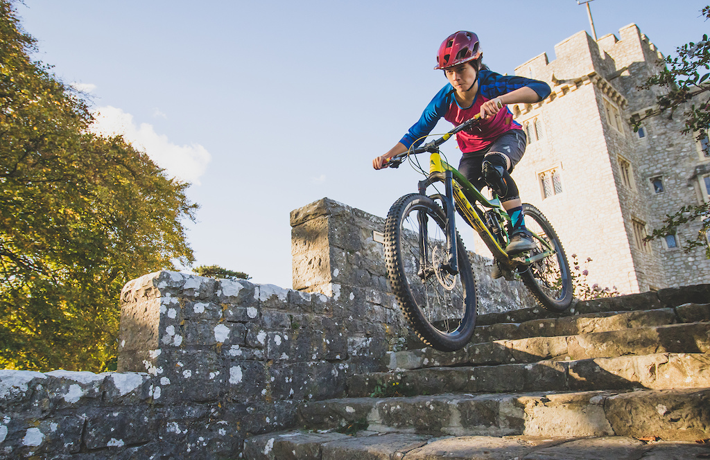 Maya does a bit of urban DH in a castle near her home in Wales.