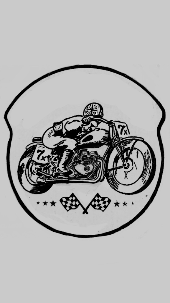 Last edit of the doodle, longer read fender, passenger pillion/ race fender pad, and Union Jack helmet to go with the finished triumph motor.... I like the final copy :D
