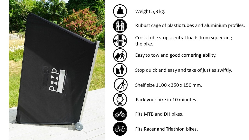Tall standing Bike Transport Cage and Icons.