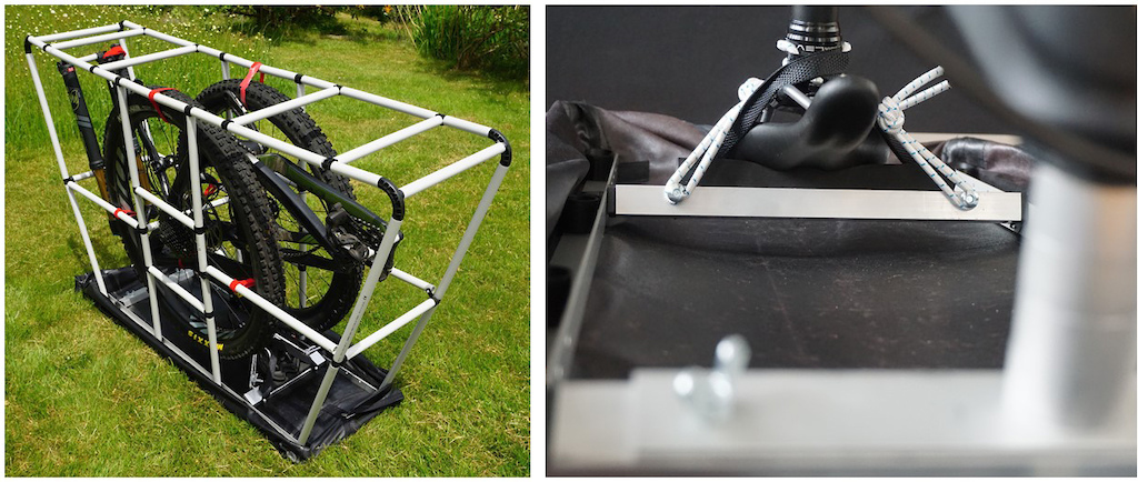 Cage with bike inside together with saddel and fork tube fixation.