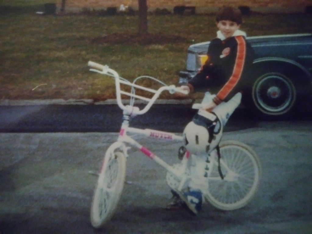My 80's Hutch. All my guy friends always made fun of me for having a pink and white bicycle. Then I started having my choice of whatever girl I wanted to haul home. The next year everyone wanted pink BMX bicycles. I replace this bike with a lavender GT Pro Performer. It was never as popular with the fifth grade ladies as the hutch. The 80 were RAD!