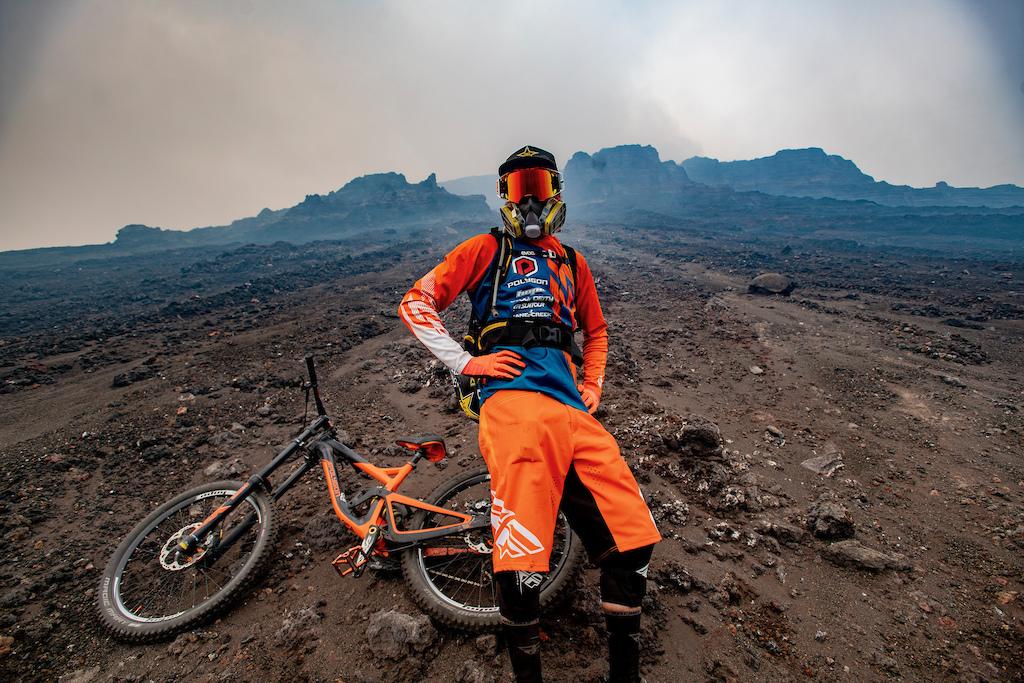 Kurt Sorge getting ready to drop in on Momotombo Volcano.