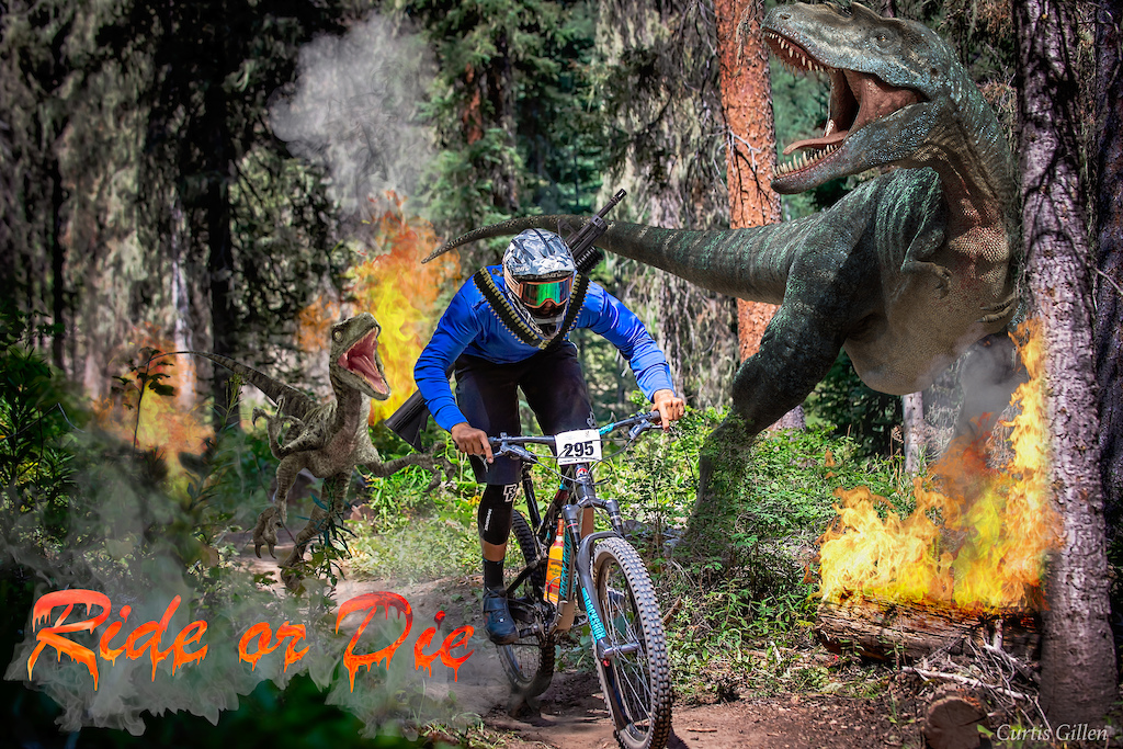 Shot during the Rocky Mountain Race Series final at Purgatory Mountain Bike Park in 2018. The rider narrowly escaped being eaten and celebrated with a bottle of tequila The ridiculous edit was just for fun when Jose had asked if I had gotten any shots of him during the race I wanted to send him this.