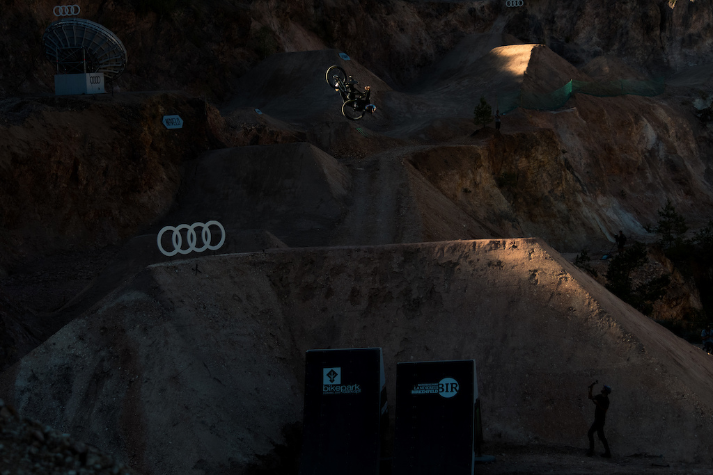 """2018 is all about shoulder buzzers for me and this """"last light"""" shot from the Audi Nines's quarry is a perfect example of it. Emil is a workhorse with a beautiful soul and to spice this one for you - its actually a frame from a flip whip to late shoulder buzzer combo!"""