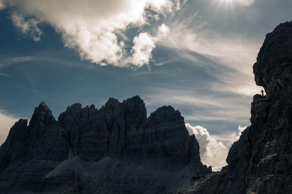 Kilian Bron riding some exposed balcony trails in the italian Dolomites.