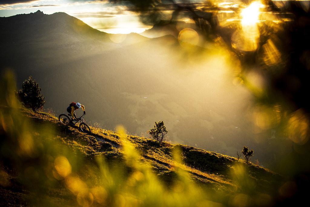 Janne Tjärnström catching the last light of the day above St Luc in Val D'Anniviers, Switzerland.