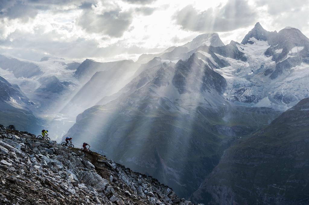 Chris Winter, Julia Hofmann and Stephen Matthews got a surprise light show while riding near Rothorn above Zermatt, Switzerland.