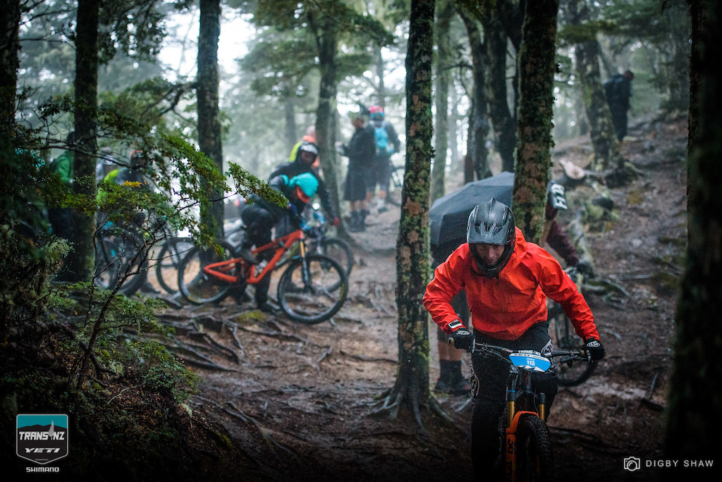 Note to racers wear bright colors show up on Pinkbike.