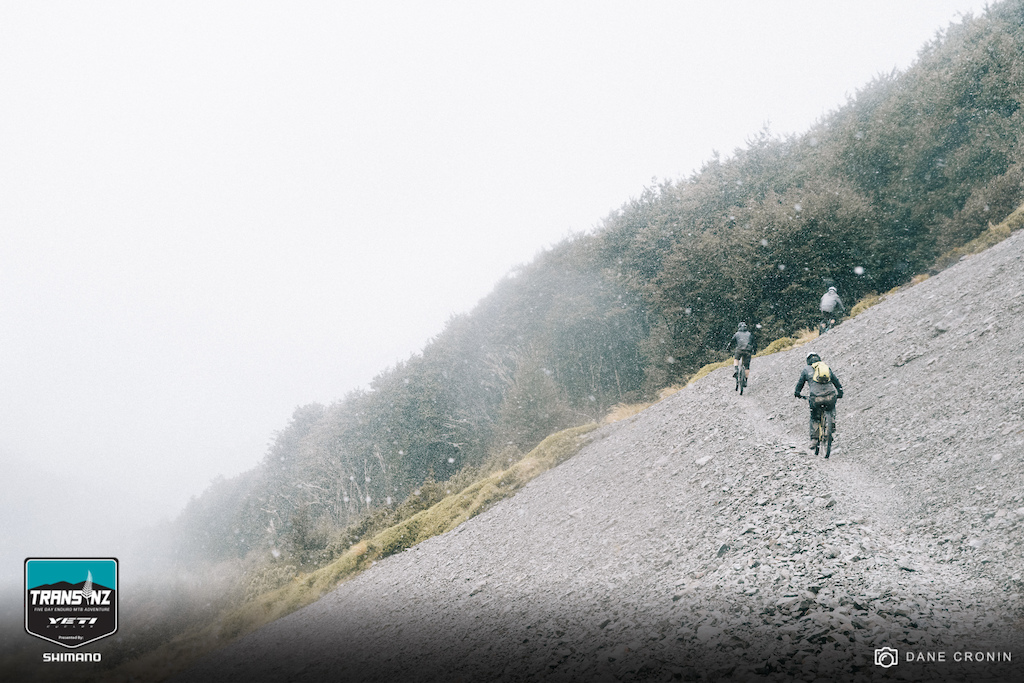 Racers experienced negative temps and snow on the climb to the top of Stage 2 - the Edge Track.