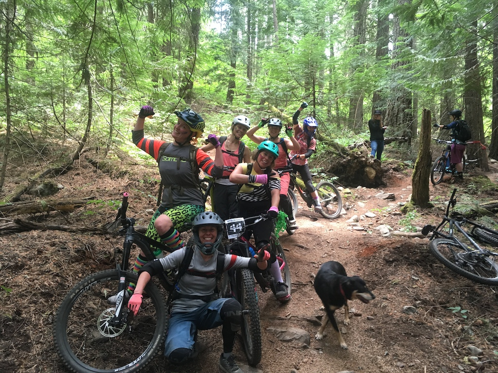 Pemberton Bike Club women who ride together race together. Waiting in line at the 2018 Spud Crusher.
