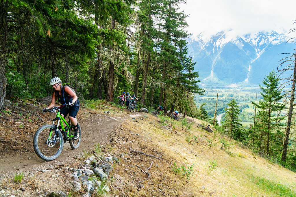 Dawn Cashen smiling up Pemberton s iconic Nimby climb on her way to the first stage of the 2018 Spud Crusher.