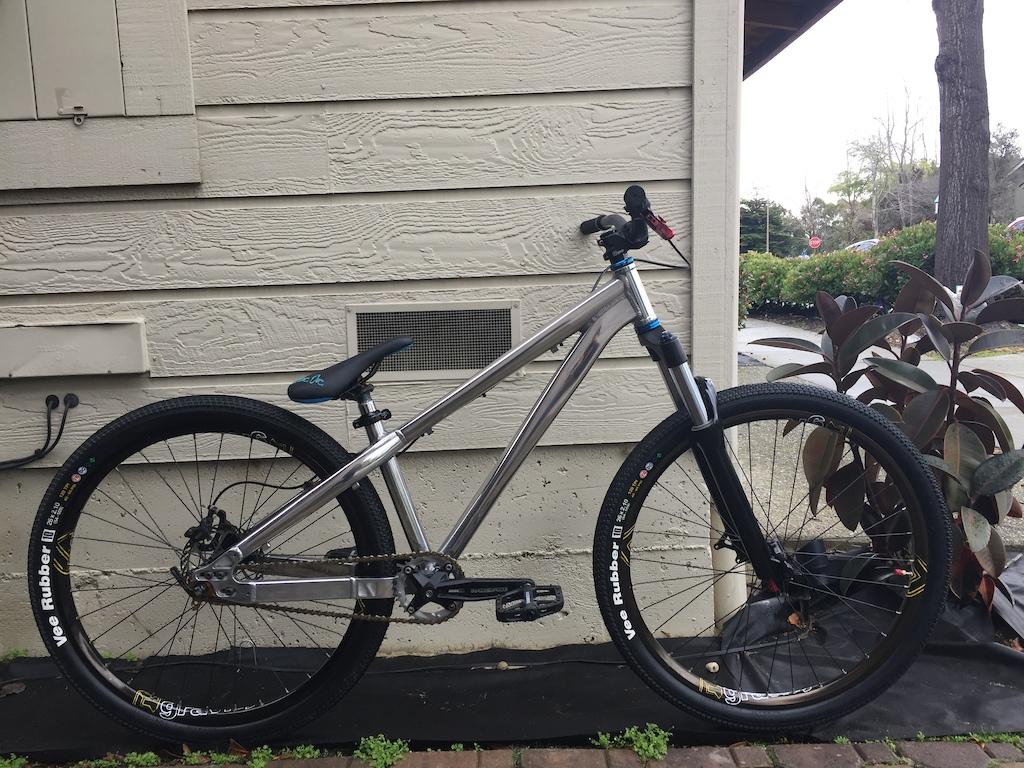 New tires new pedals new cranks. Travel set at 100 mm. Wheels trued.