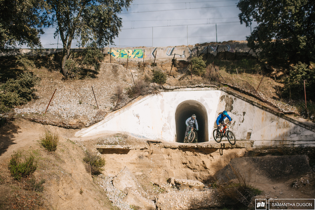 Underneath a train station was an old disused tunnel which made the perfect straight to gain speed before dropping into a series of gap jumps.