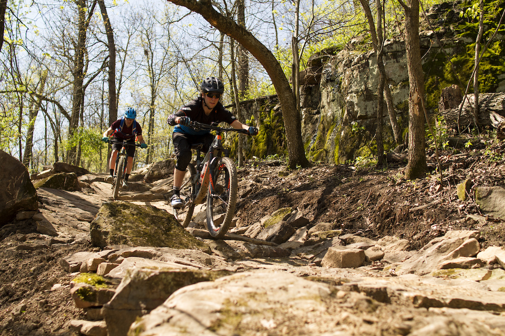 Fitzgerald Mountain has some of the newest purpose built mountain bike trails in the Oz Trails network. These trails are located in Springdale AR and were completed in 2018. Pictured local riders from the NWA region. Photo by Scott Schroen