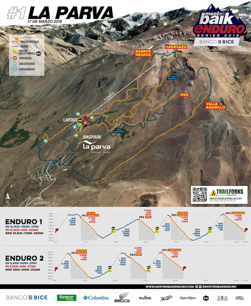 Race Map for the first round of Montenbaik Enduro Series 2019 in iconic La Parva.