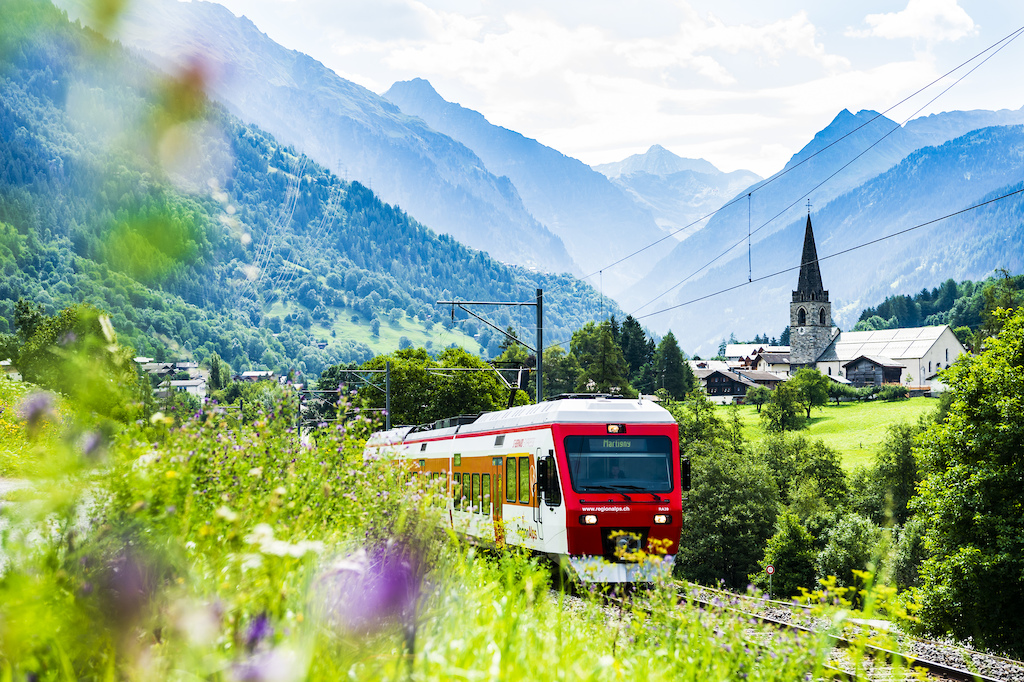 Local train in Le Chable below Verbier Valais Switzerland. Photo Mattias Fredriksson.