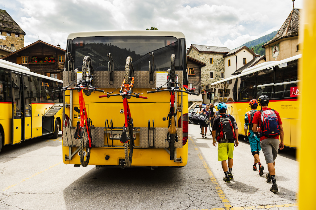 Chris Winter Stephen Matthews and Ludo May on a bus station in Val D Anniviers Switzerland. Photo Mattias Fredriksson.