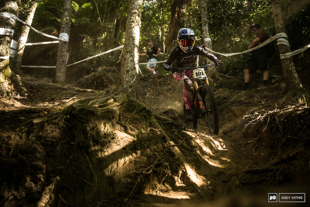 Tahnee Seagrave took her time to find her pace on this tricky track. She would finish third in finals.