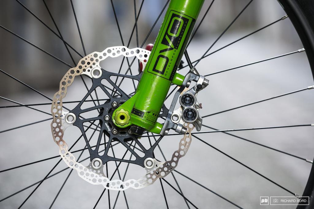 DVO Diamond Hope Tech 3 with a 203mm disk a downhill ready enduro bike.