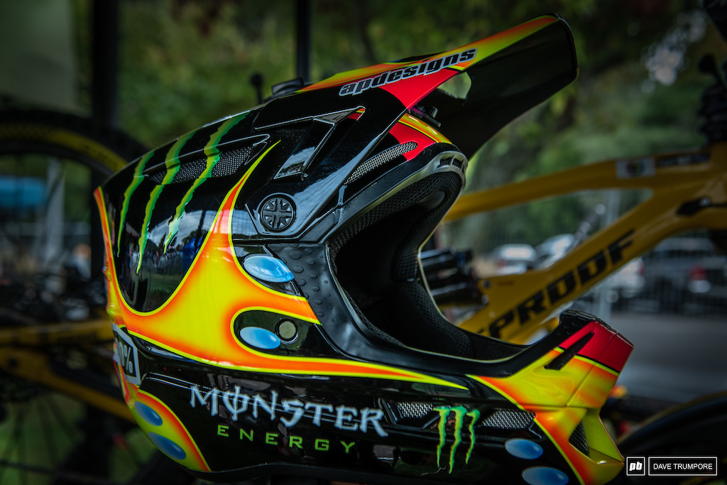 Sam Hill s custom 100 helmet. The custom paint job is a throwback to the iconic bubbles helmet worn by motocross start Jeremy McGrath in the 90 s