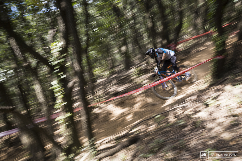 Stage 4 on Sunday had a lot of steep and dusty turns in the forest.