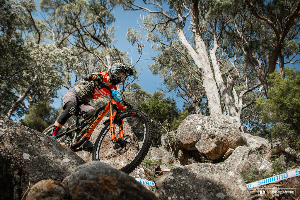 ALN drops through he boulders on Stage 5.