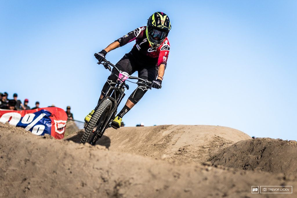 Anneke Beerten snagged the sliver medal in dual slalom only two days after winning the enduro race.