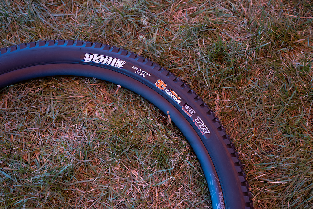 "Maxxis Rekon: A popular tire for riders who prefer plus sized tires. Maxxis bills it: ""The Rekon is an aggressive trail tire inspired by the Ikon for intermediate and technical terrain. Wide knobs down the middle provide control under braking and L-shaped side knobs assure support when carving loose turns."""