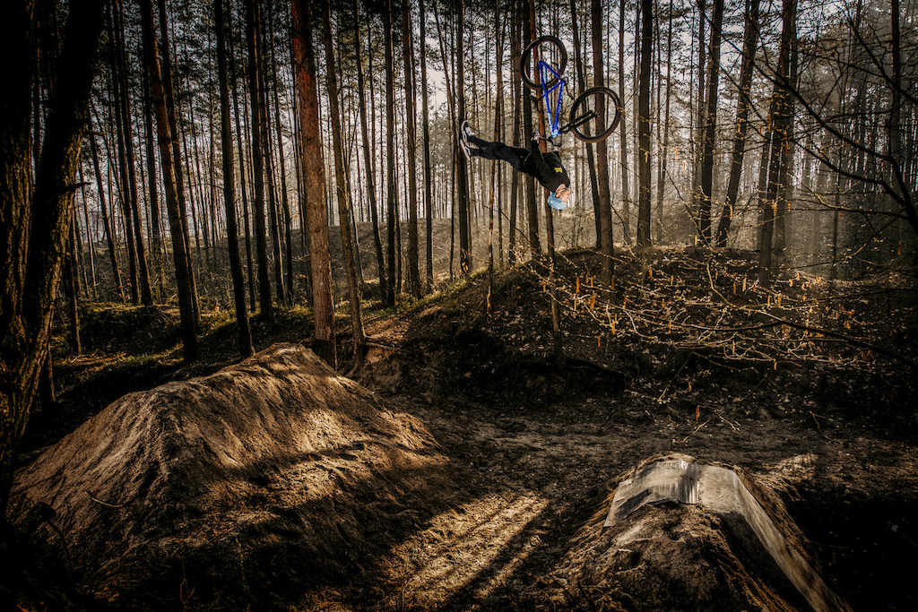Photo from the session for Dartmoor Bikes Backflip superman