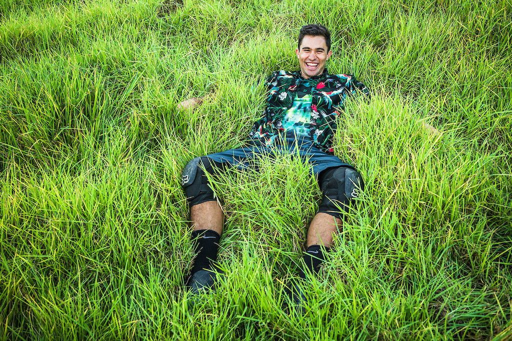 In his favorite place, surrounded by grass